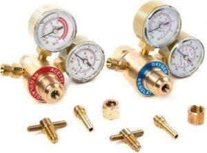 Biltek Solid Brass Oxy and Acetylene Dual Gauge Regulators for Gas Torch Cutting